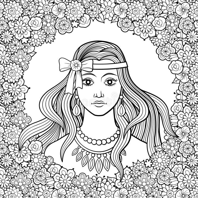 Menina bonita com curva no quadro floral ilustração do vetor