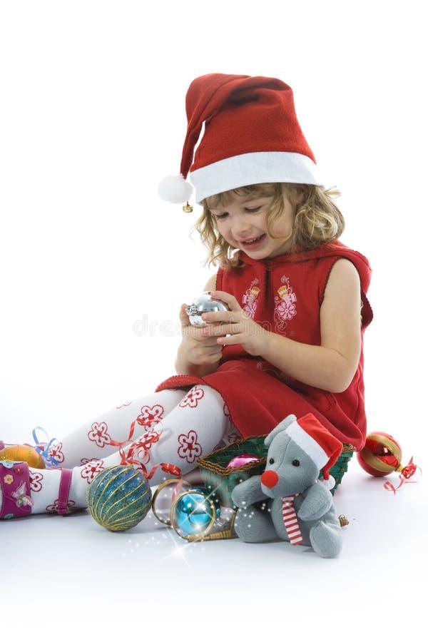 Menina bonita com decoração do Natal foto de stock royalty free