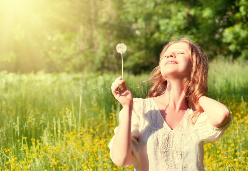 Menina bonita com dente-de-leão que aprecia o sol do verão imagem de stock