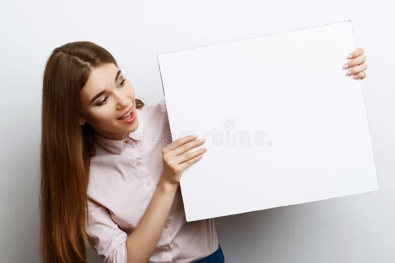 Menina bonita com espaço da cópia fotografia de stock royalty free