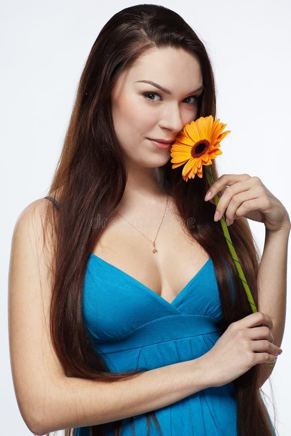 Menina bonita com gerbera imagem de stock royalty free
