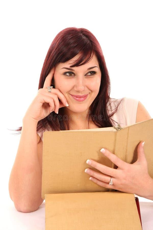 Menina bonita com livros fotos de stock royalty free