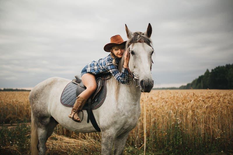 Menina bonita com o cavalo da castanha no campo da noite fotografia de stock royalty free