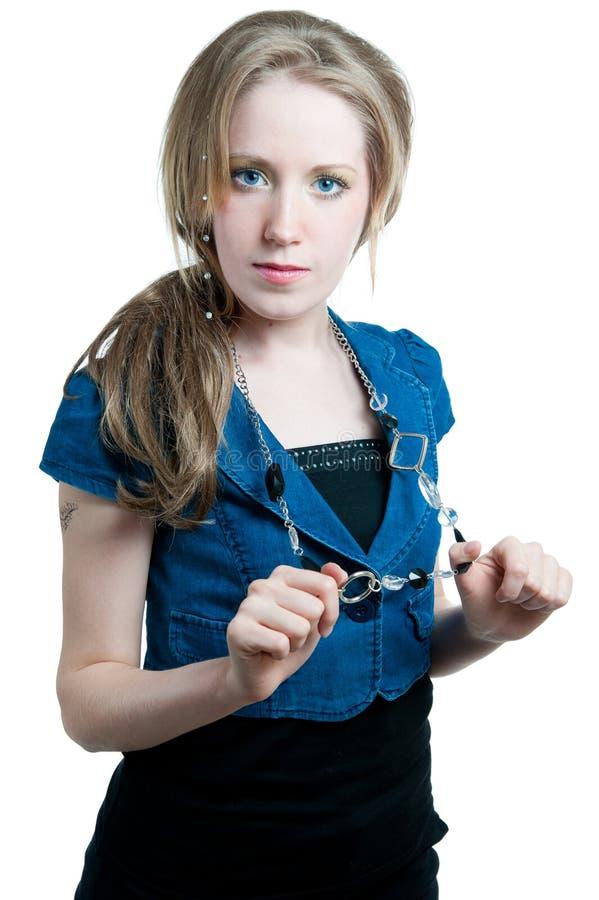 A menina bonita com olhos azuis fotos de stock royalty free