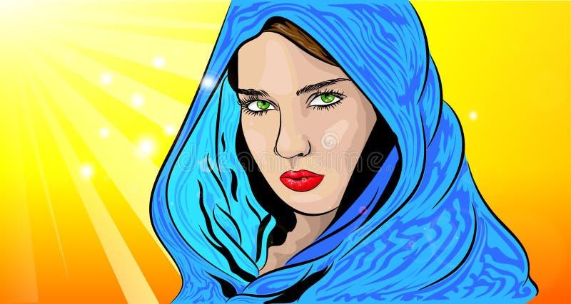 Menina bonita com os olhos verdes no poncho ilustração royalty free