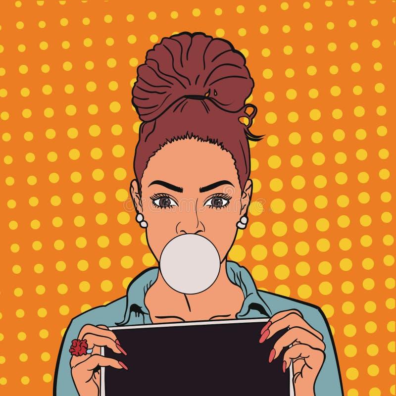 Menina bonita com pastilha elástica e tabuletas Pop art Eps 10 ilustração stock