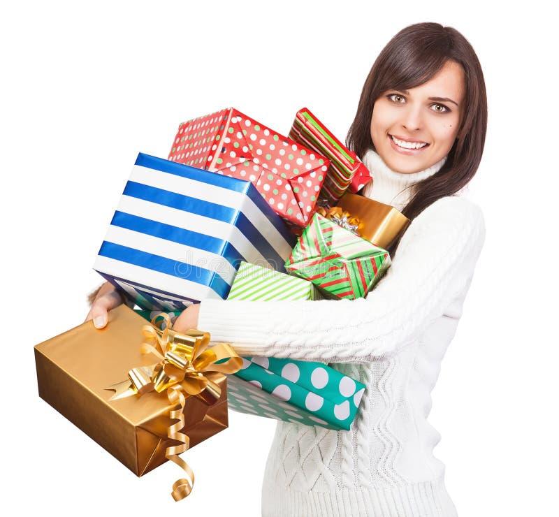 Menina bonita com presentes imagens de stock