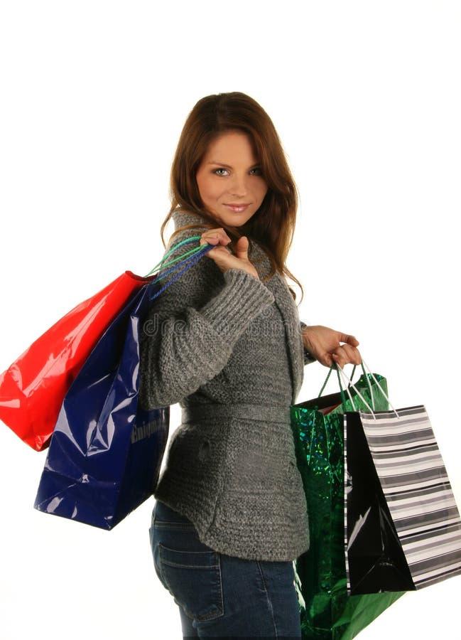 Menina bonita com saco de compra fotografia de stock