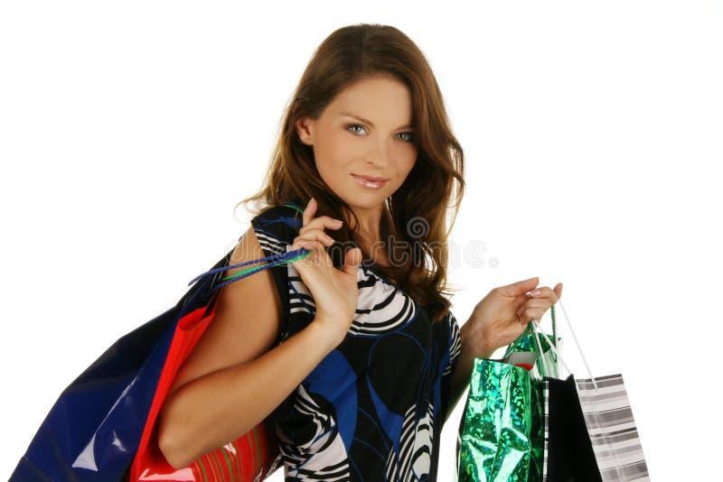 Menina bonita com saco de compra imagens de stock