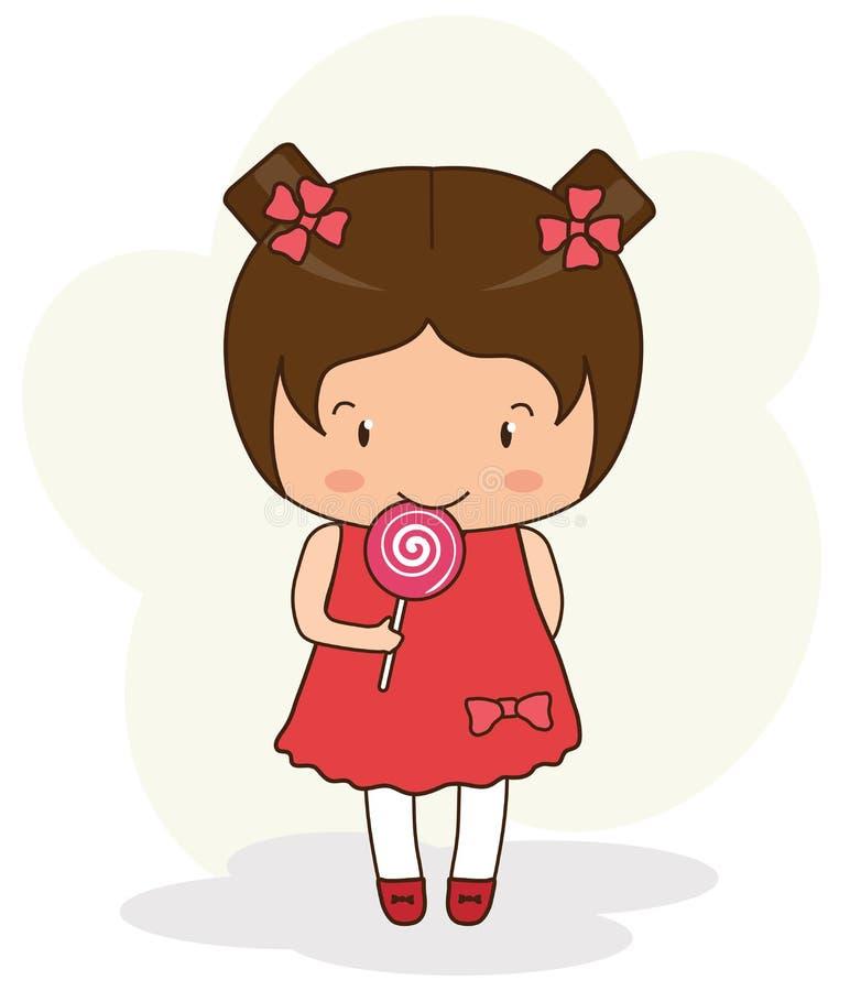 Menina bonita com um pirulito Os desenhos animados ilustração royalty free