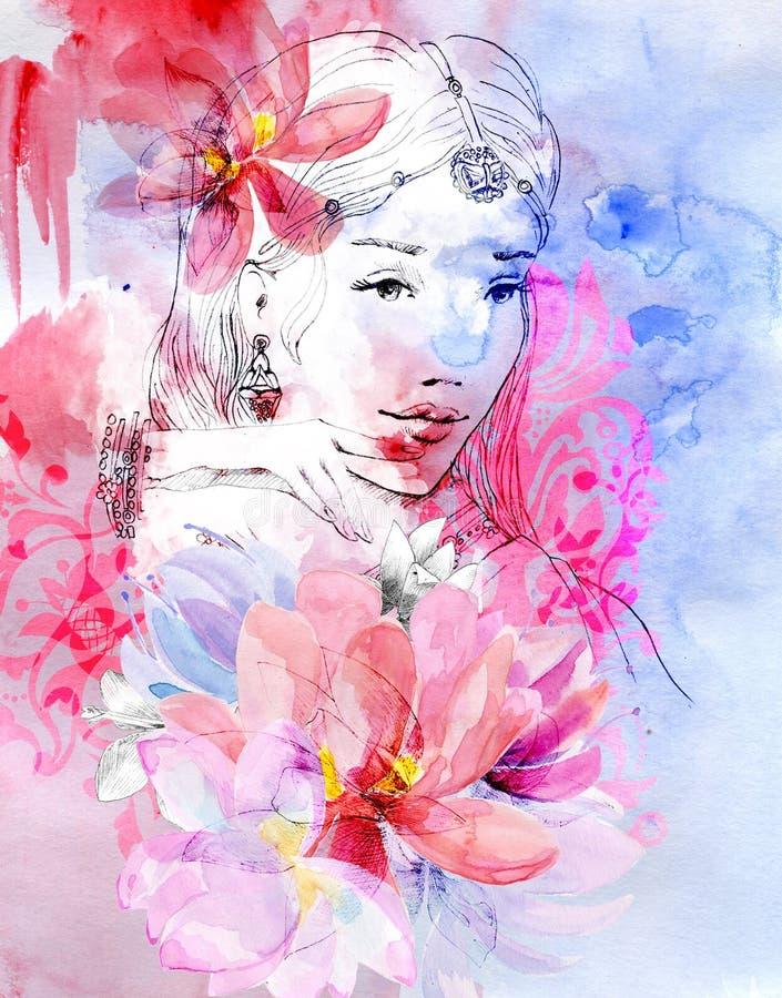 Menina bonita com um ramalhete das flores ilustração stock