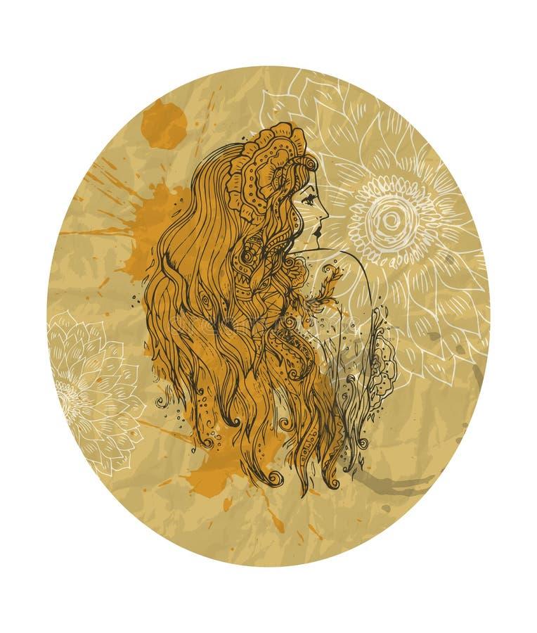 Menina bonita com uma grinalda em seu fundo do cabelo à menina e ao fundo retro elegante das flores ilustração stock