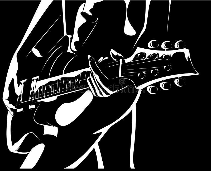 Menina bonita com uma versão preto-branca da guitarra ilustração do vetor