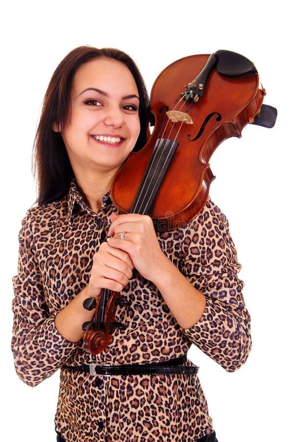 menina bonita com violino fotografia de stock