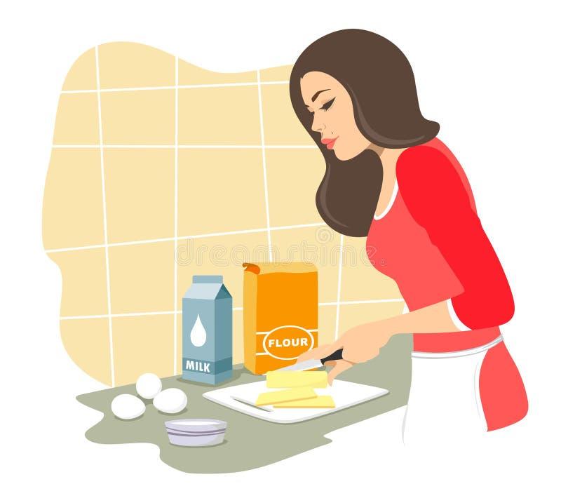 A menina bonita cozinhará pastelarias Manteiga dos cortes baking Isolado do vetor em um fundo branco ilustração stock