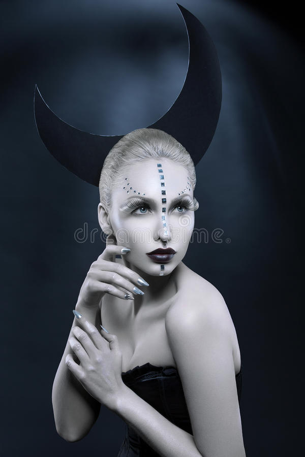 Menina bonita da lua imagem de stock royalty free