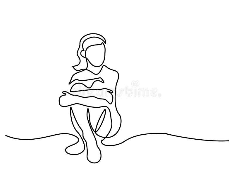 Menina bonita de assento ilustração royalty free