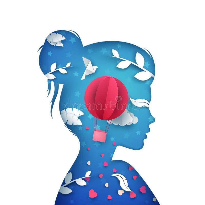 Menina bonita de papel dos desenhos animados Pomba, nuvem, airballoon, pena ilustração stock
