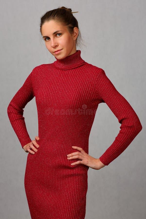 Menina bonita, delgada em um vestido vermelho elegante imagem de stock royalty free