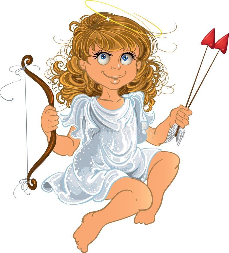 Menina bonita do anjo do dia do `s do Valentim ilustração royalty free