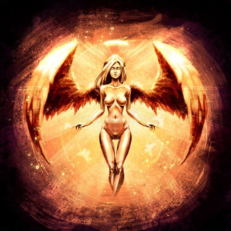 Menina bonita do anjo no fulgor alaranjado ilustração stock