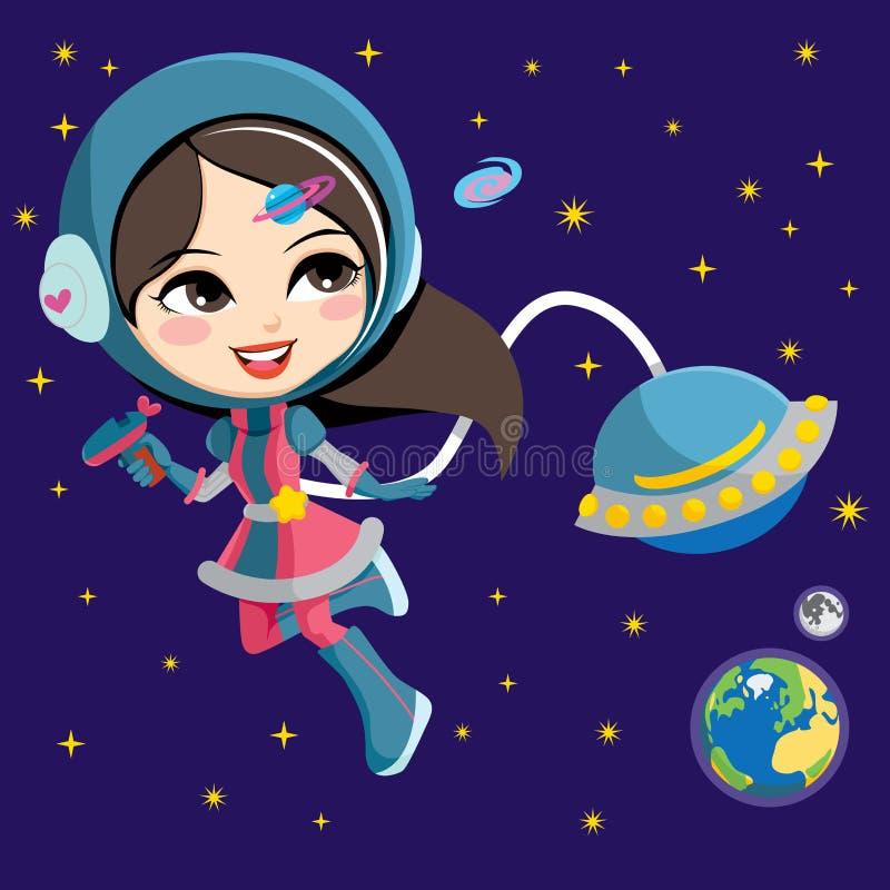 Menina bonita do astronauta ilustração royalty free