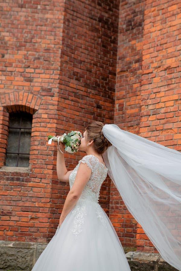 Menina bonita do casamento no vestido de casamento que levanta perto da parede de tijolo fotos de stock royalty free