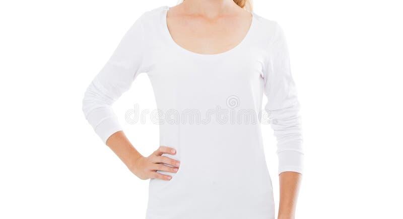 Menina bonita do corpo na camisa de t sobre o fundo branco fotos de stock royalty free