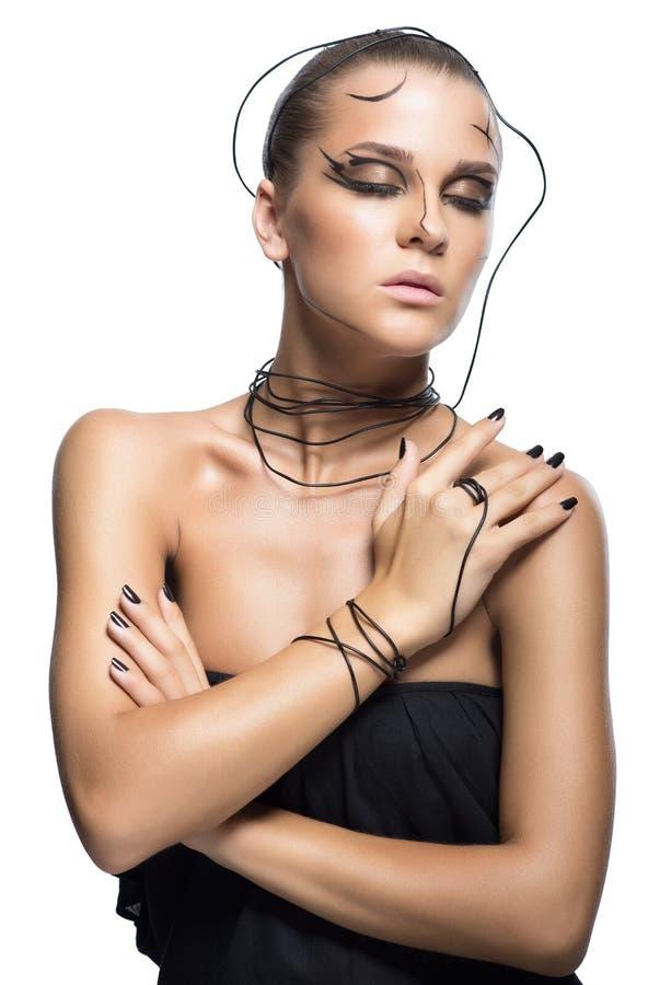Menina bonita do cyber com composição preta isolada no backgr branco fotos de stock