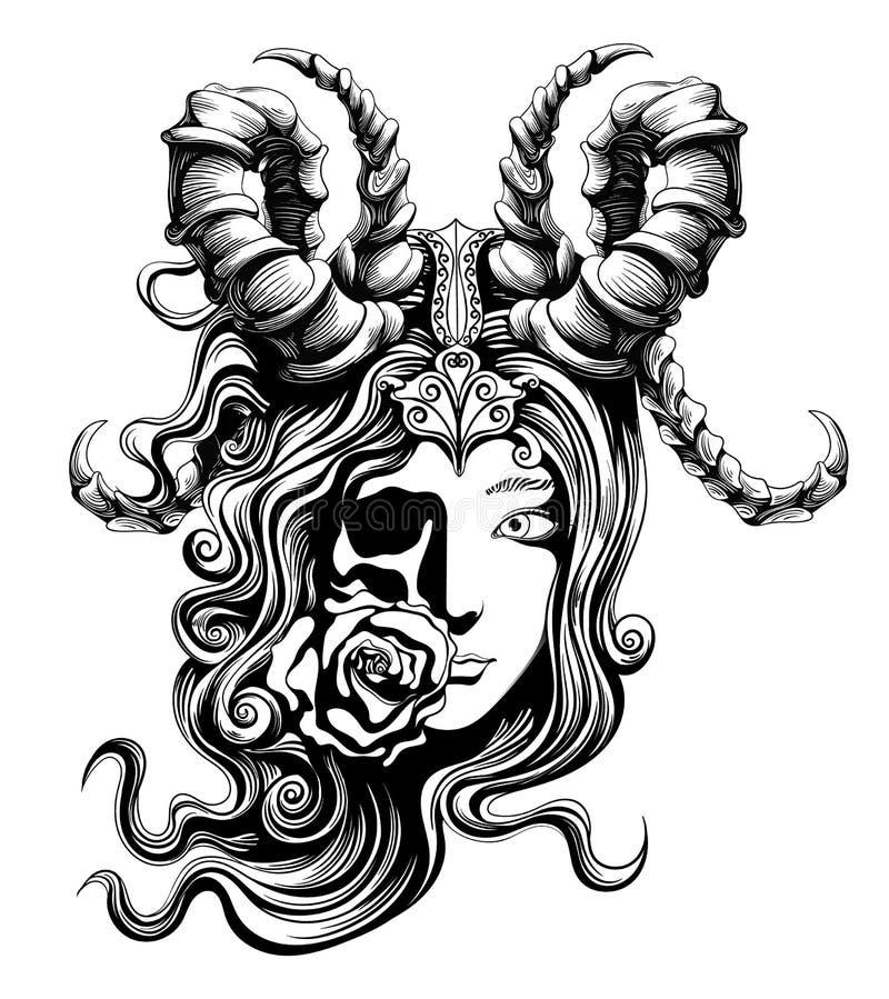 Menina bonita do demônio que simboliza a morte ilustração do vetor