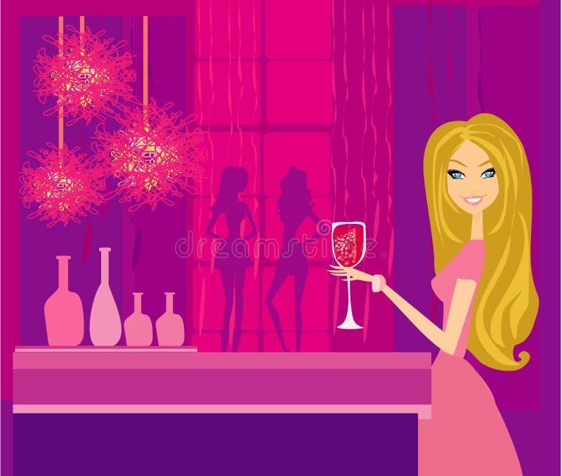 Menina bonita do disco com bebida ilustração stock