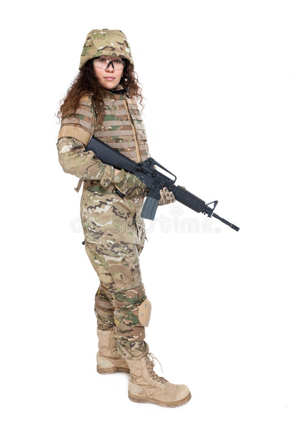 Menina bonita do exército com rifle imagem de stock royalty free