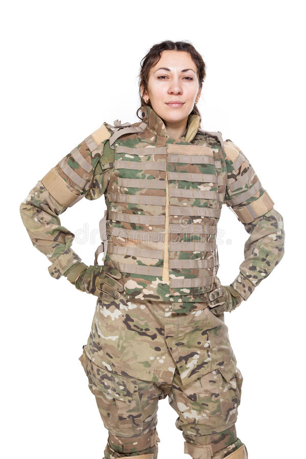 Menina bonita do exército com rifle fotografia de stock royalty free