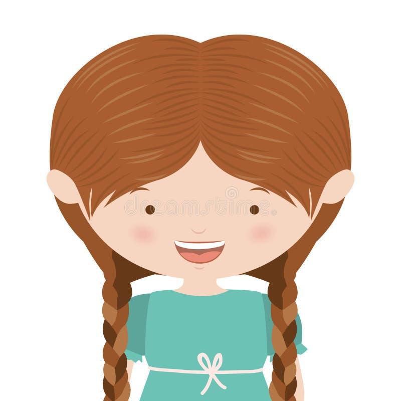 menina bonita do meio corpo com tranças ilustração stock
