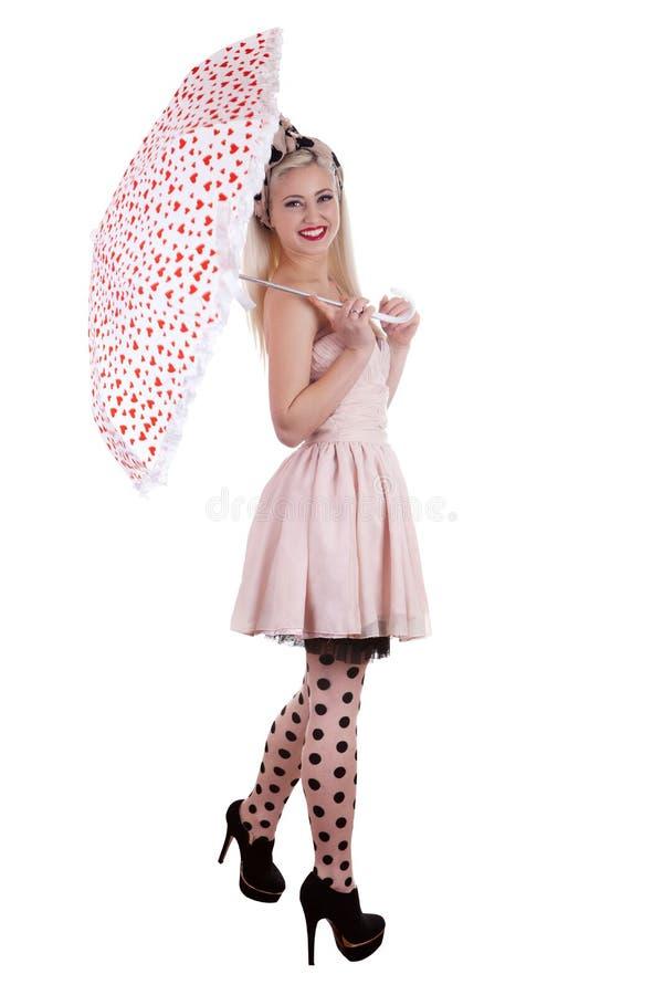 Menina bonita do pino-acima com guarda-chuva imagens de stock royalty free