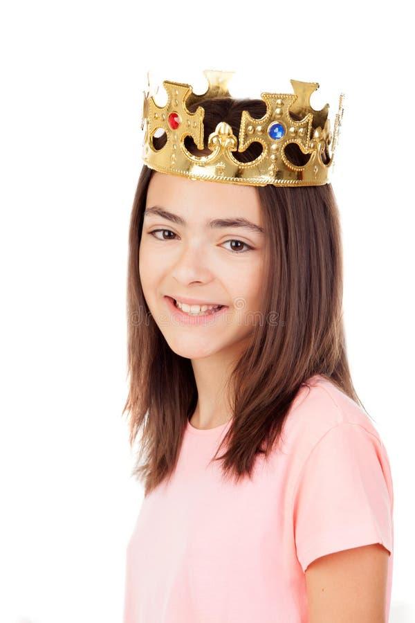 Menina bonita do preteen com uma coroa fotos de stock