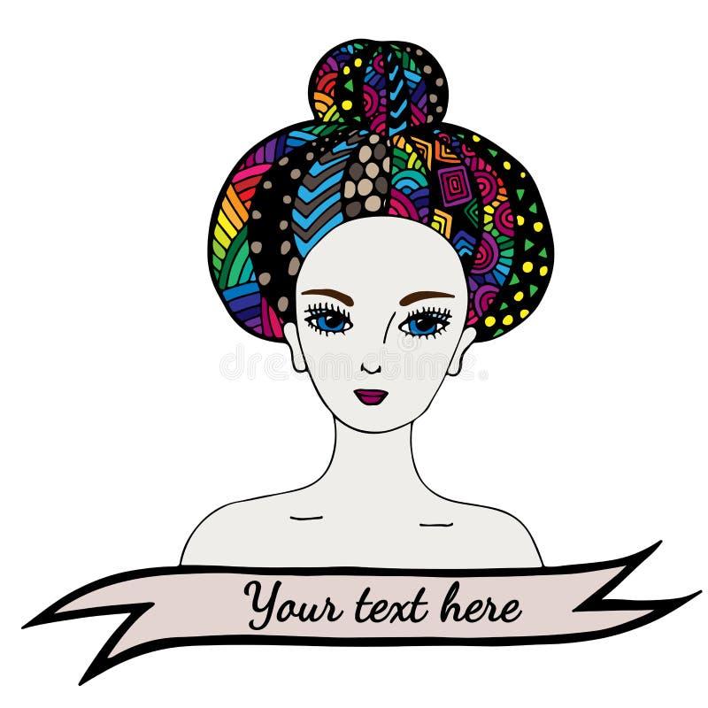 Menina bonita do retrato com cabelo abstrato colorido ilustração do vetor