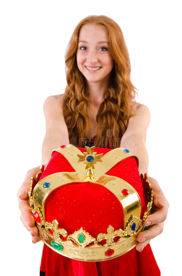 Menina bonita do ruivo no conceito da rainha fotografia de stock royalty free