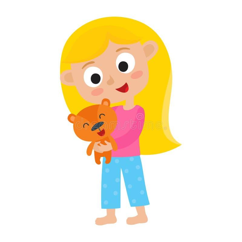 Menina bonita dos desenhos animados com o urso de peluche bonito pequeno Ilustração do vetor ilustração stock