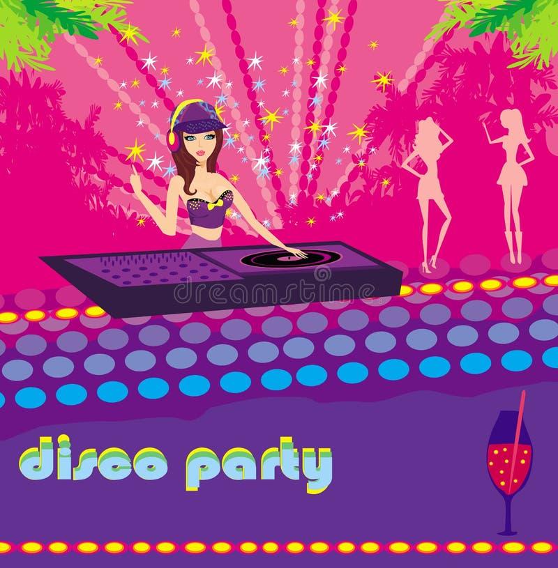 Menina bonita e meninas do DJ que dançam em um partido ilustração royalty free