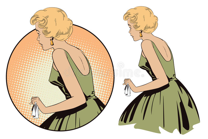 Menina bonita em choque Povos no estilo retro ilustração stock