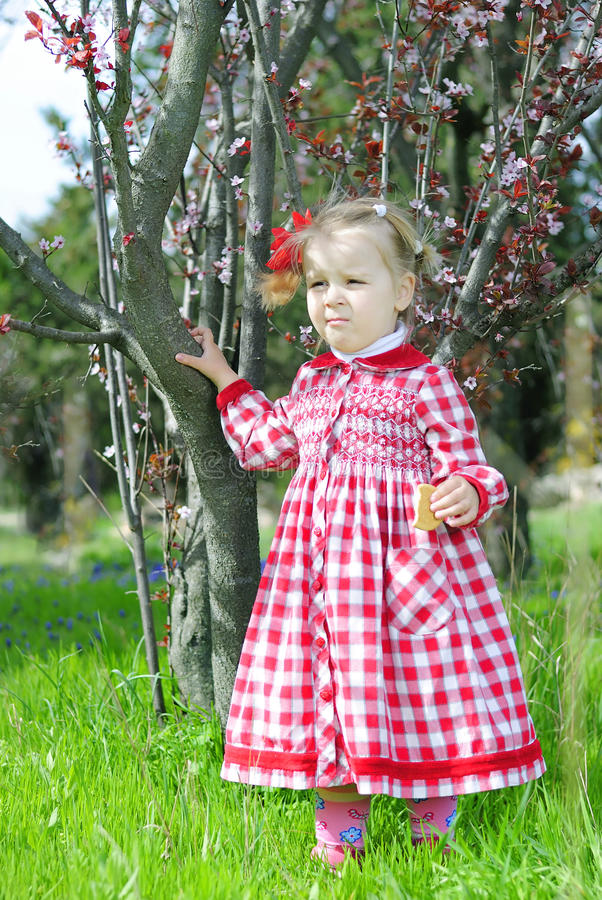 Menina bonita em um balanço em um vestido vermelho bonito imagem de stock royalty free