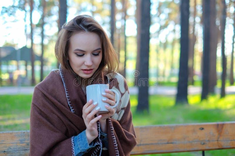 Menina bonita em um café bebendo da manta no parque foto de stock