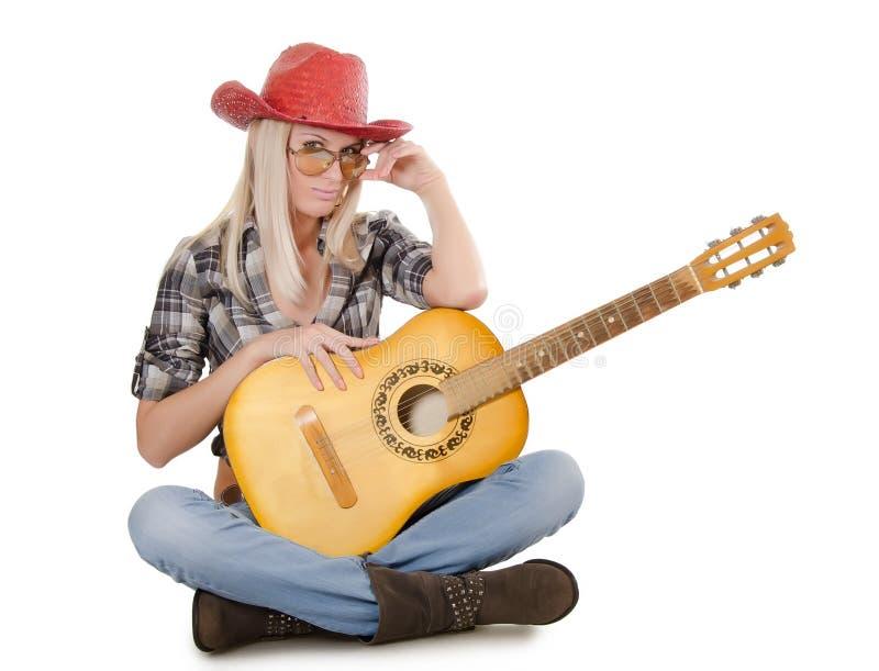 A menina bonita em um chapéu de cowboy imagens de stock royalty free