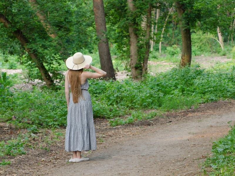 A menina bonita em um chapéu e em um cabelo longo está estando em um passeio em uma floresta verde foto de stock royalty free