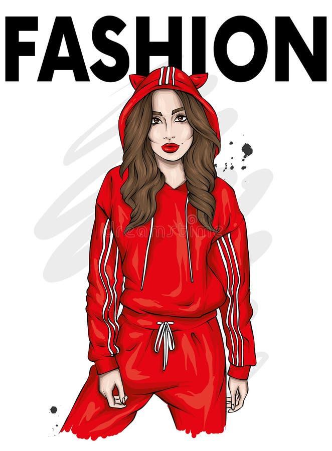 Menina bonita em um fato de esporte à moda Roupa e acessórios da forma, forma e estilo Ilustra??o Desenho brilhante ilustração do vetor