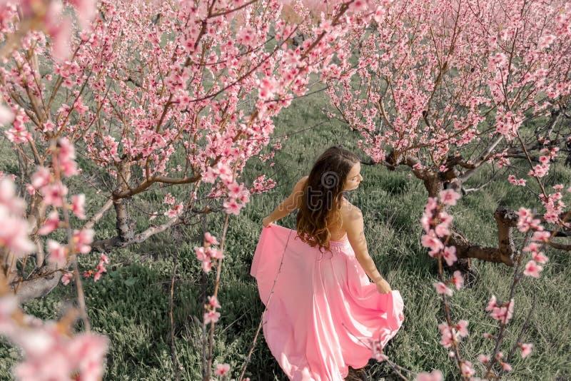 Menina bonita em um jardim de florescência da mola Está vestindo um vestido de casamento imagens de stock royalty free