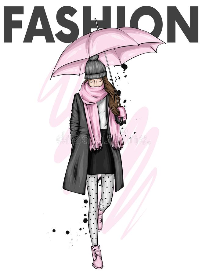Menina bonita em um revestimento, em uma bota, em um lenço e em um chapéu à moda Roupa e guarda-chuva do outono outono, mola e in ilustração royalty free