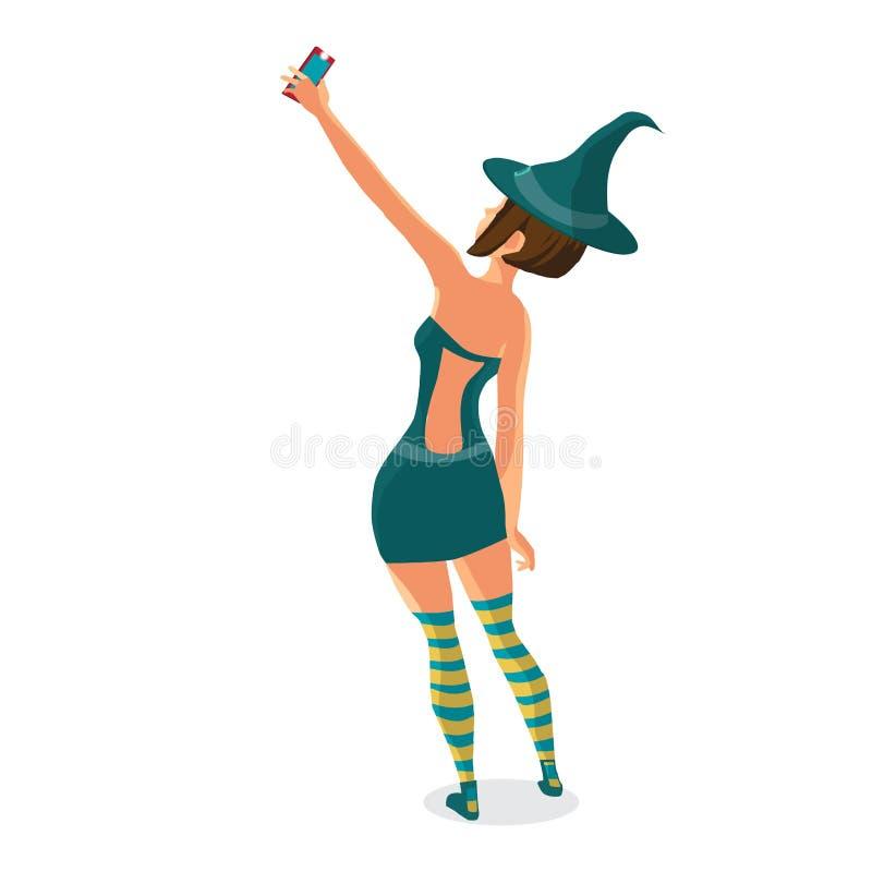 A menina bonita em um traje da bruxa faz o selfie ilustração stock