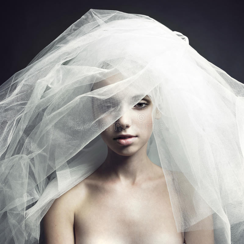 Menina bonita em um véu imagem de stock